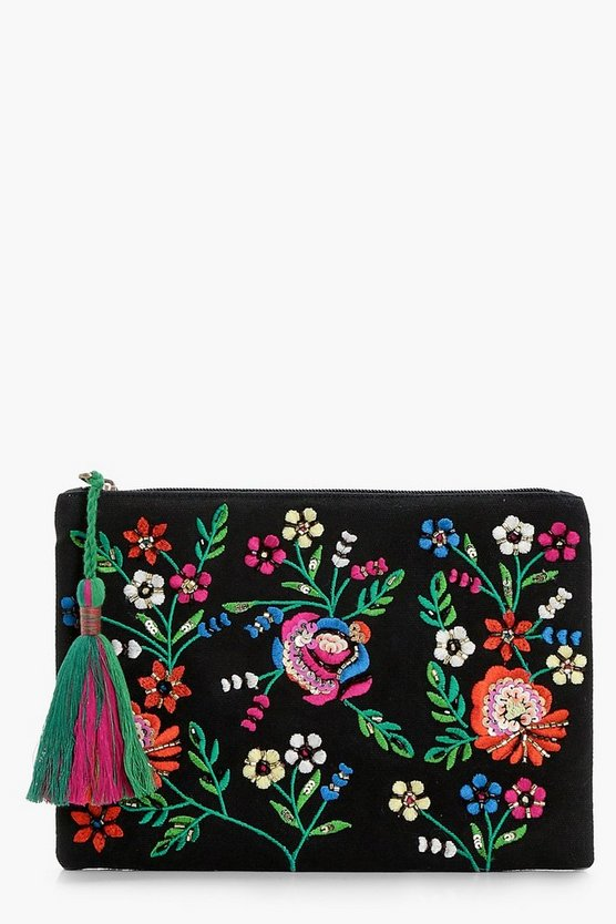 Kirsten Sequin Floral Zip Top Clutch