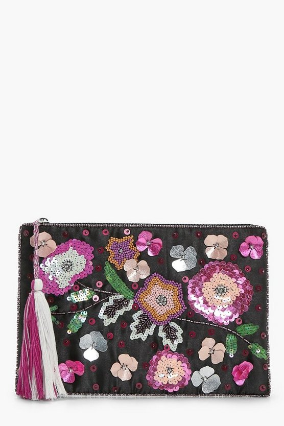 Rosie 3D Embellished Zip Top Clutch