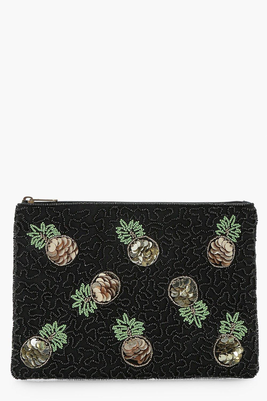 Sequin Pineapple Zip Top Clutch - black - Emily Se