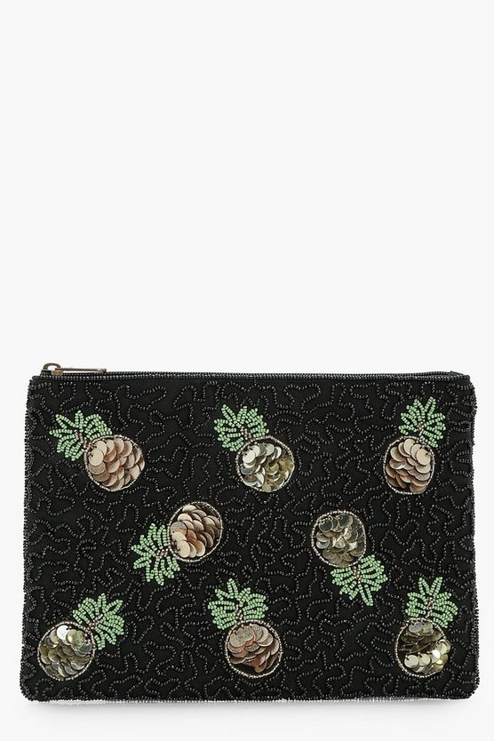Emily Sequin Pineapple Zip Top Clutch