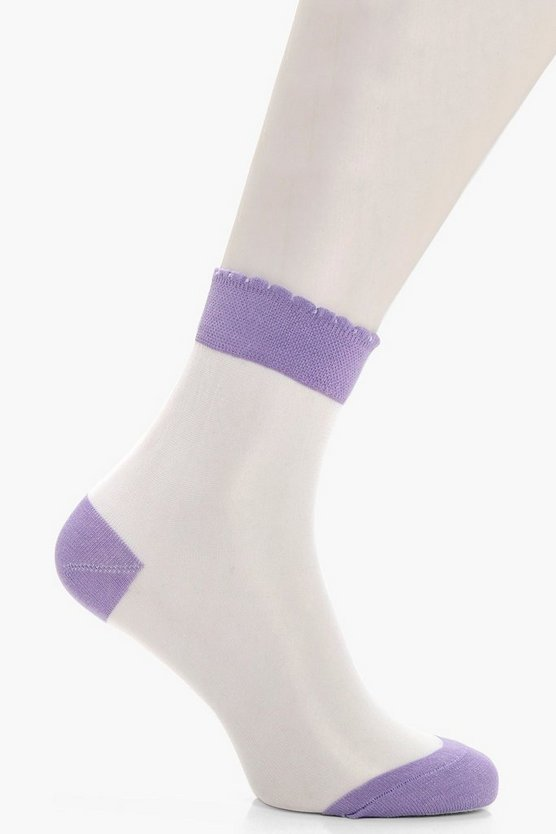 Sophie Coloured Insert Sheer Ankle Socks