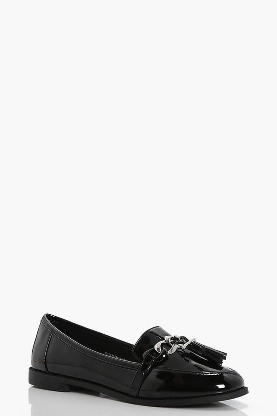 Zoe Chain Detail Tassel Loafers