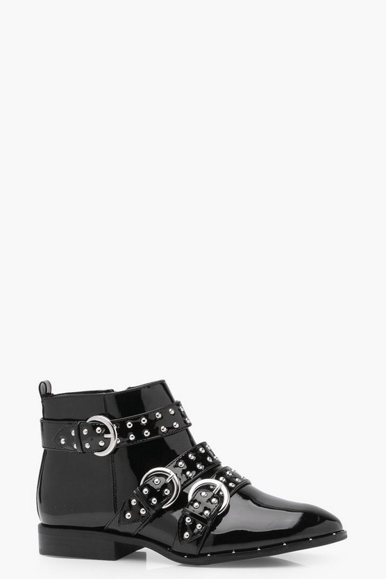 Lola Pin Stud Strap Ankle Boots