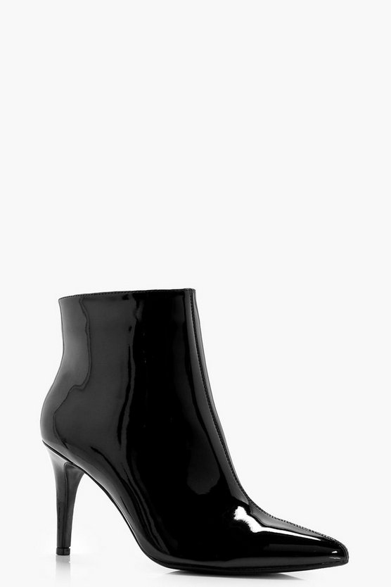 Mid Heel Pointed Toe Patent Shoe Boots