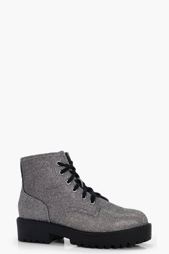 Katie Shimmer Low Ankle Chunky Hiker Boot