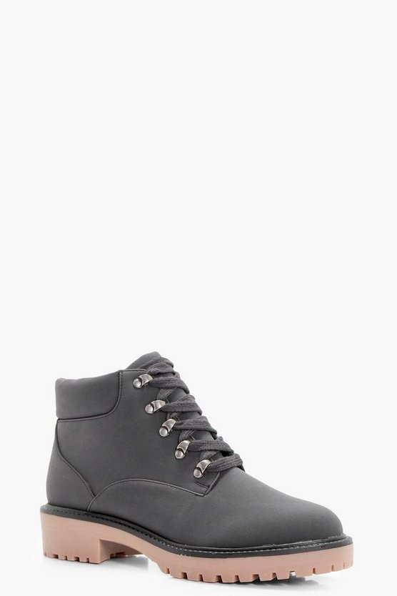 Low Ankle Chunky Hiker Boots