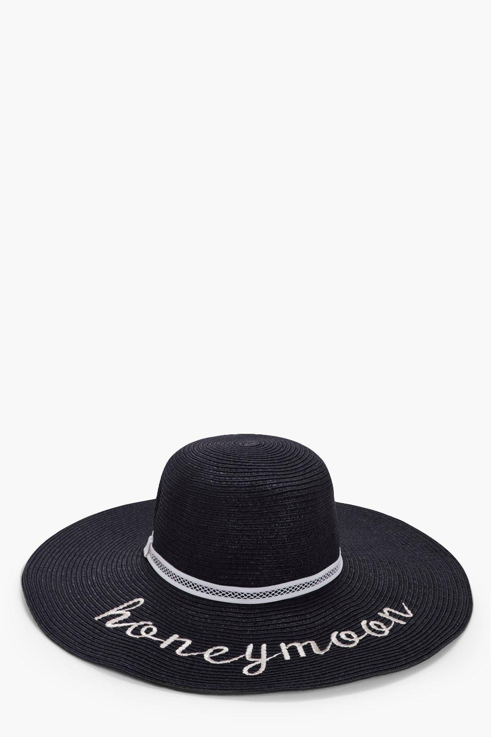 Honeymoon Straw Floppy Hat - black - Megan Honeymo