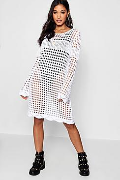 boohoo alice crochet bell sleeve dress