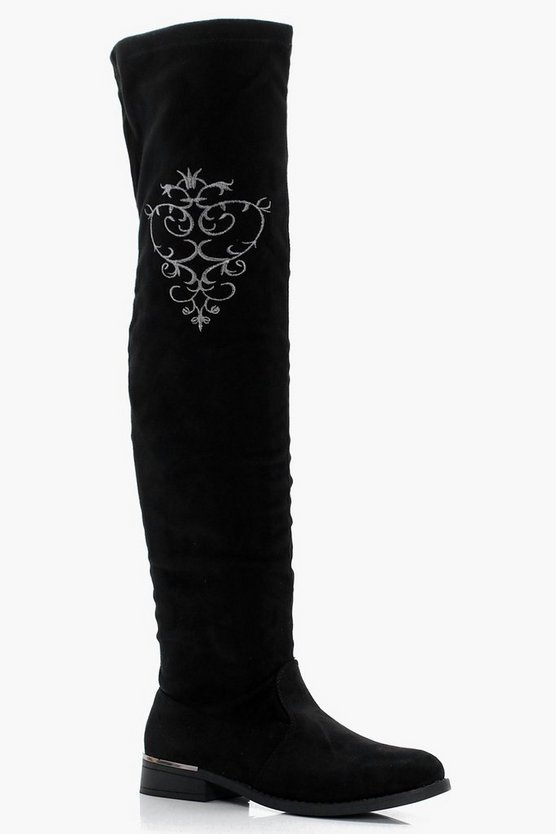 Mae Embroidered Over The Knee Boot