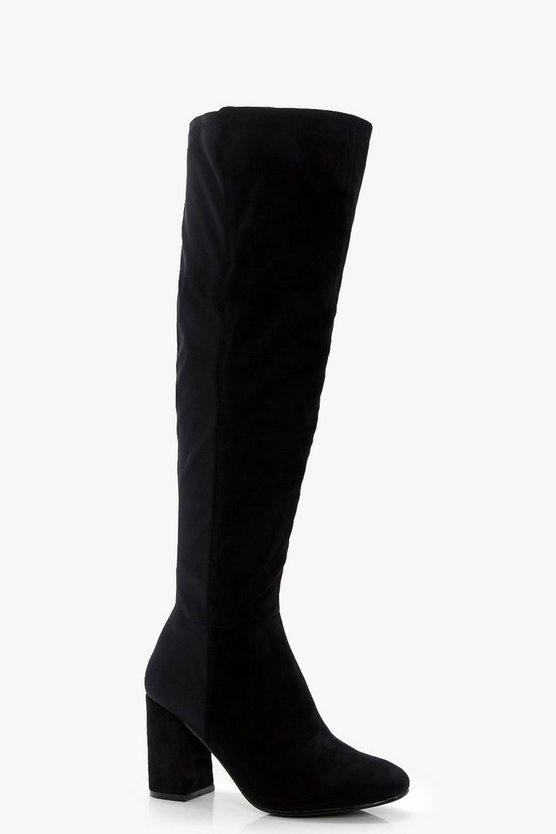 Kara Block Heel Over The Knee Boots