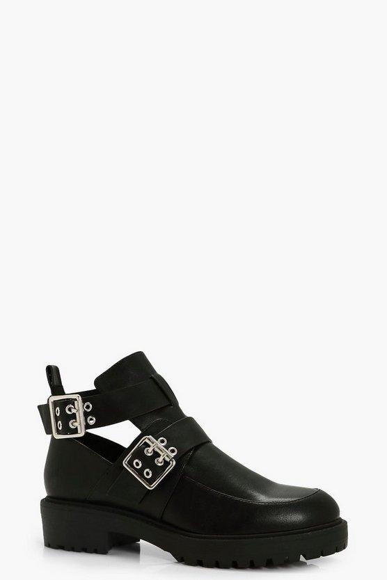 Kate Double Buckle Cut Work Chunky Boot