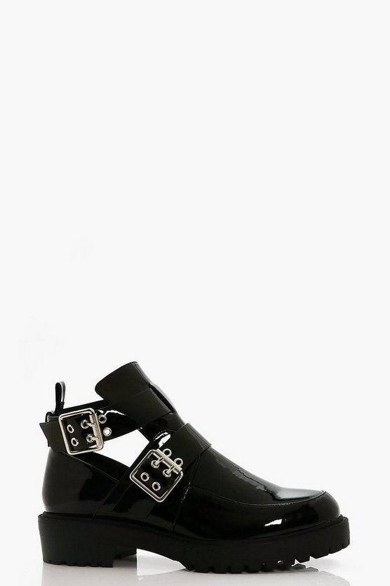Lucy Double Buckle Cut Work Chunky Boot