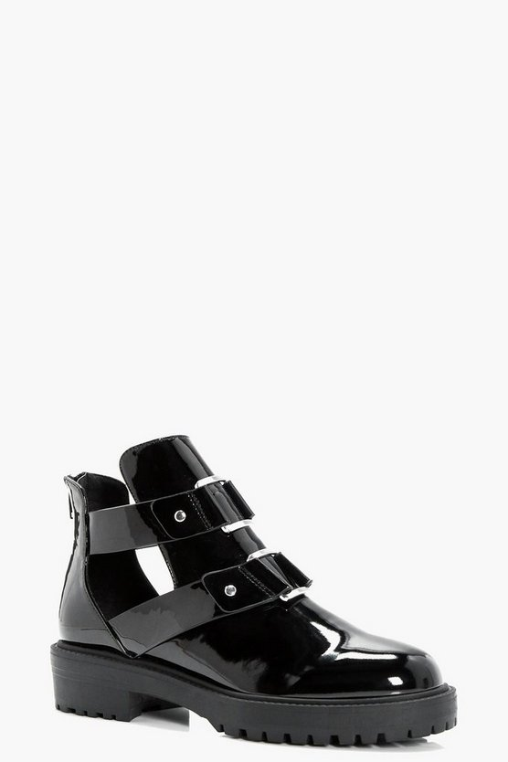 Charlotte Patent Cut Work Chunky Boot