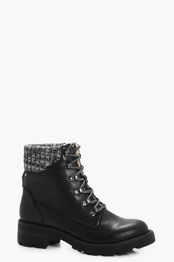 Nina Contrast Knitted Collar Hiker Boots