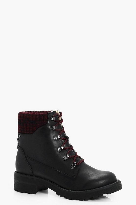 Contrast Knitted Collar Hiker Boots
