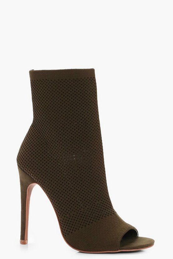 Kayleigh Knitted Peeptoe Shoe Boots