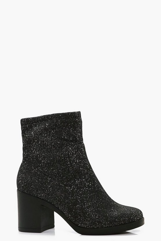 Stacey Shimmer Block Heel Sock Boot