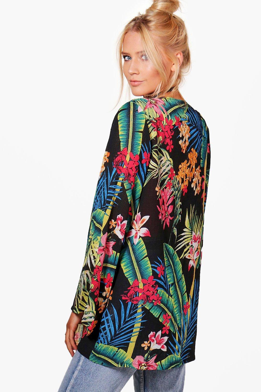 NEW-Boohoo-Womens-Ella-Tropical-Kimono-in