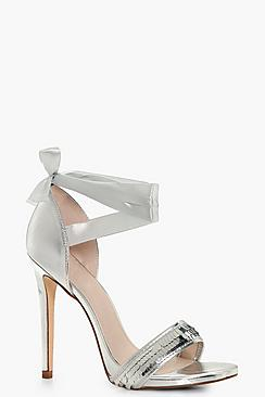 Alicia Sequin Band Satin Wrap Strap Heels