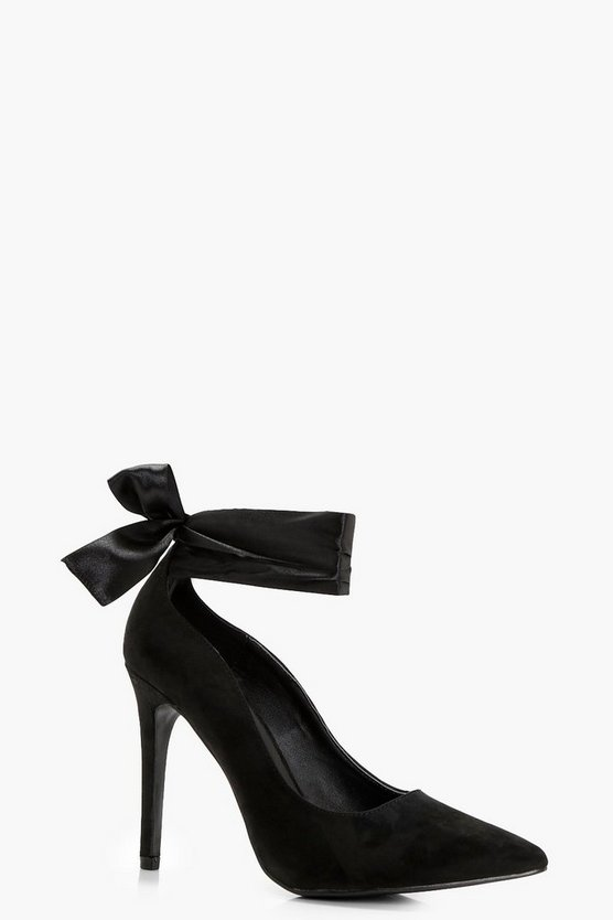 Laila Pointed Toe Bow Trim Court Shoes