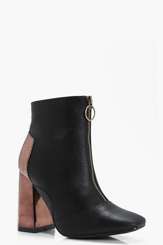 Victoria Contrast Hexagon Heel Zip Front Boot