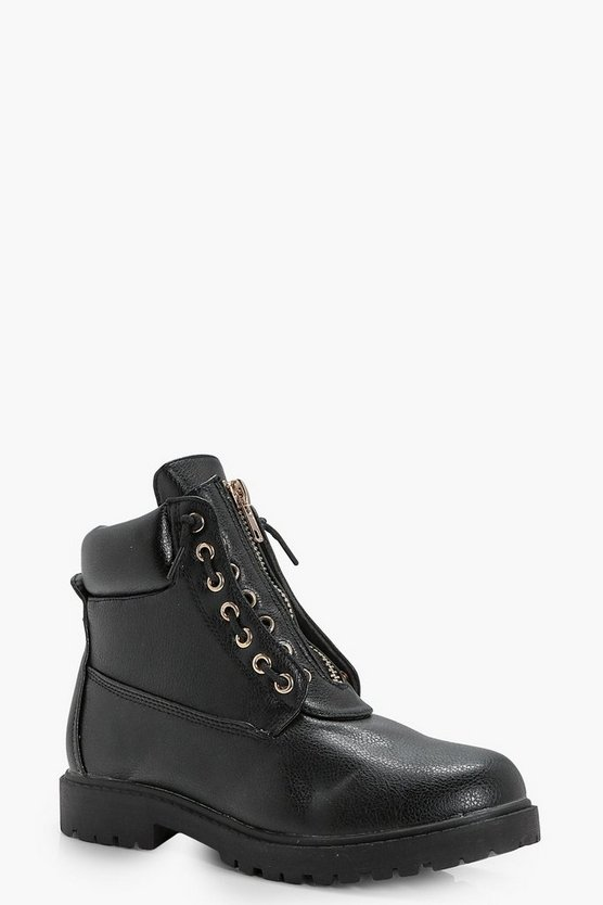 Alexandra Zip Front Hiker Boot