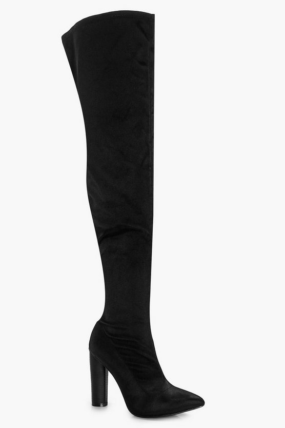 Aimee Satin Over the Knee Boot