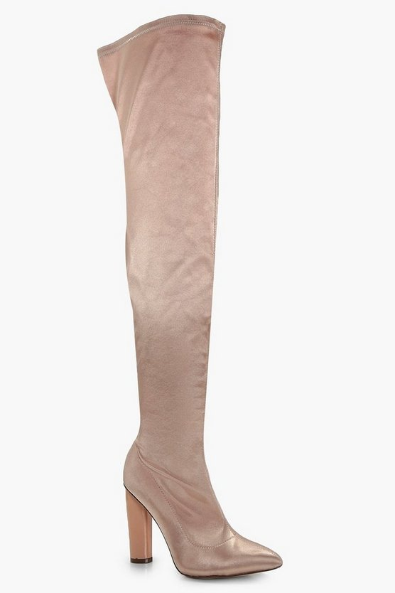 Aimee Satin Thigh High Boots