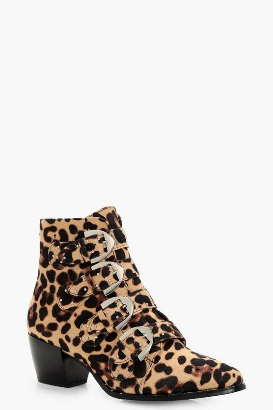 Tilly Leopard Stud Detail Ankle Boot