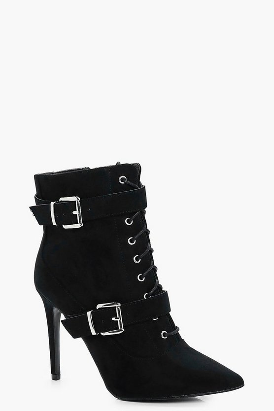 Alexis Lace Up Double Buckle Pointed Shoe Boot
