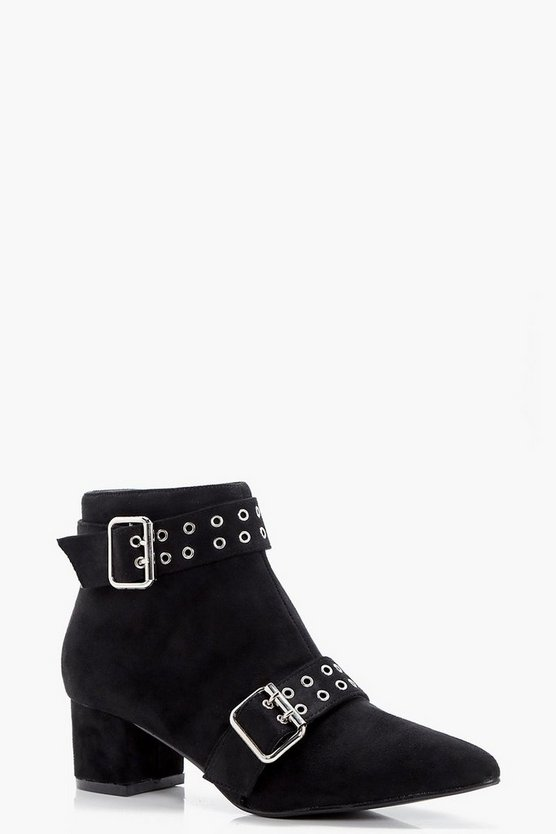Martha Buckle and Eyelet Pointed Ankle Boots