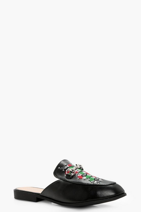 Saskia Snake Embroidered Stud Mule Loafer