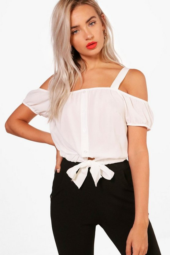 Erin Cold Shoulder Tie Crop
