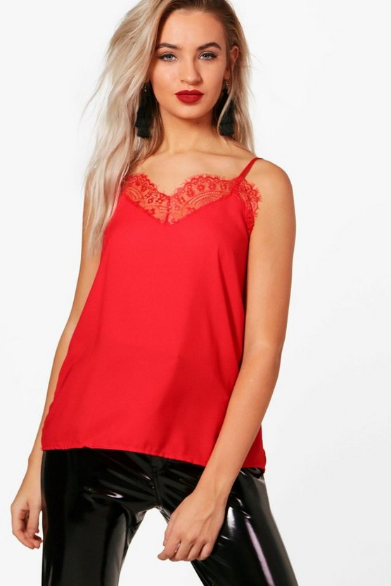 Orla Plain Lace Trim Cami Top