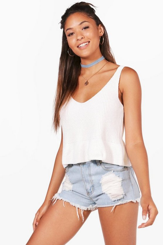 Lucy Peplum Hem Knitted Crop Top