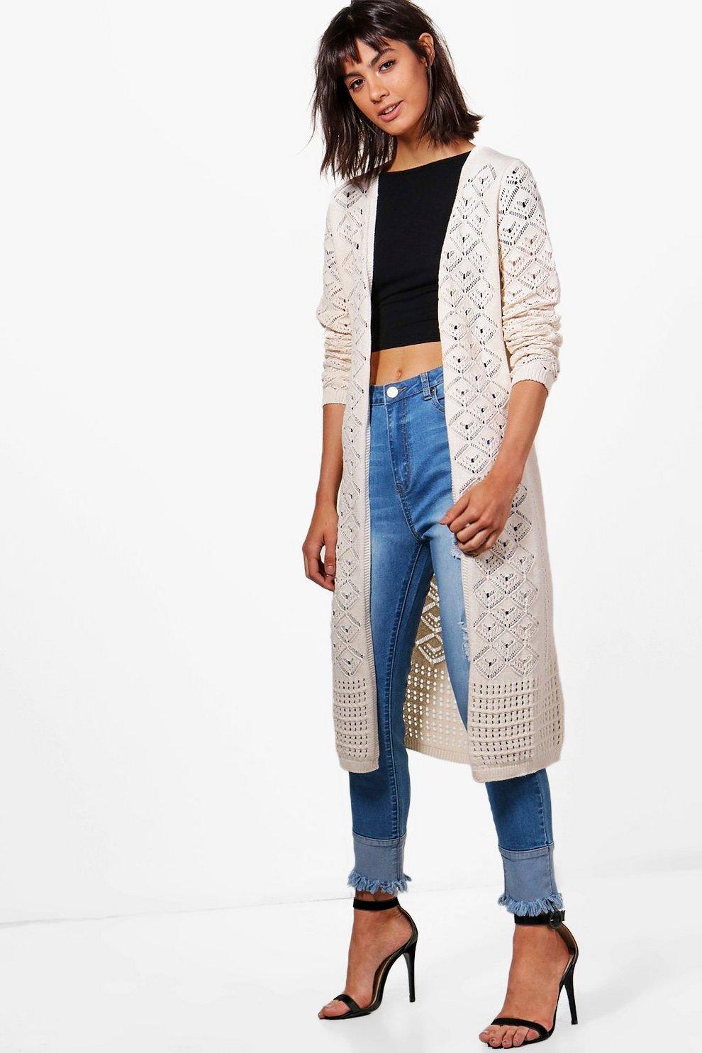 Ellie Crochet Maxi Cardigan | Boohoo