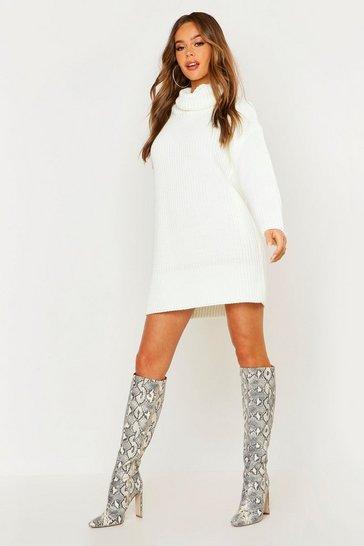 Cream Roll Neck Jumper Dress