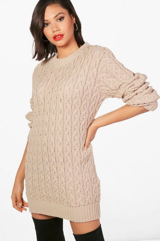 Full Cable Knit Jumper Dress