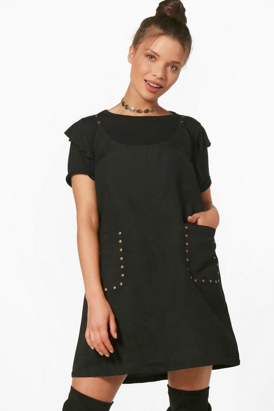 Millie Crew Neck Studded Soft Touch Pinafore Dress