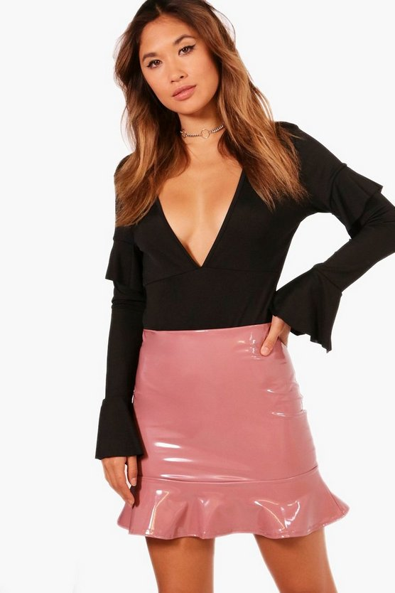 Leila Drop Peplum Vinyl Mini Skirt