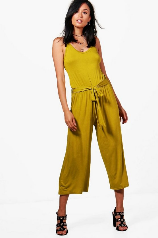 Megan Tie Belt Culotte Jumpsuits