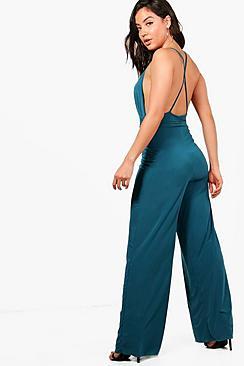 Maxine Jumpsuit mit überkreuztem Rücken und Hosenrock - Boohoo.com