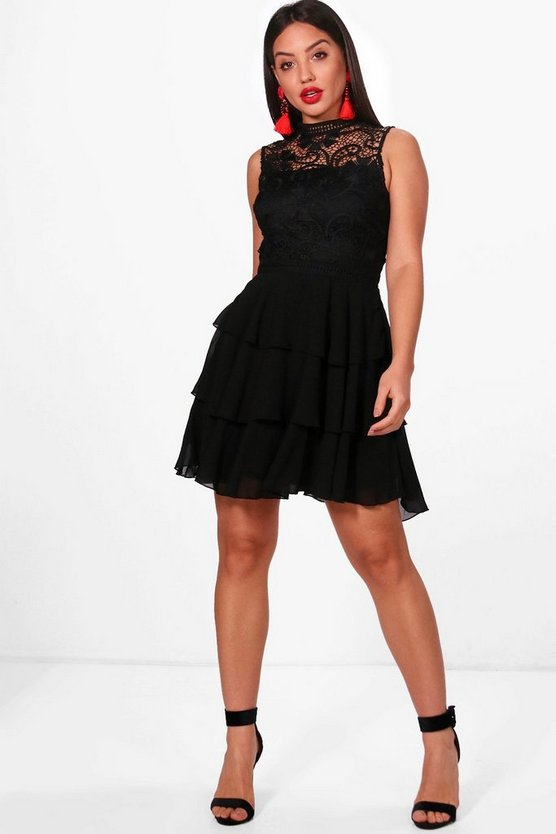 Boutique Joan Lace Top Ruffle Skater Dress
