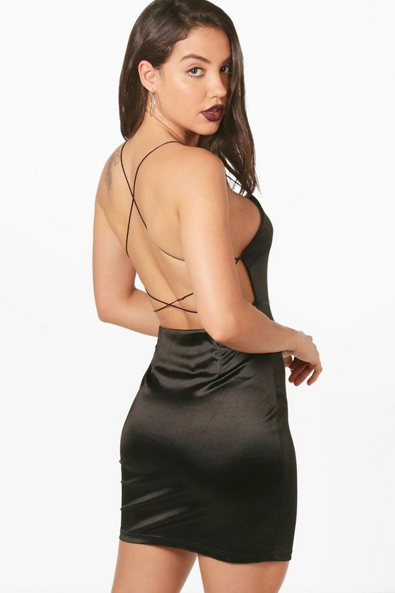 Hilda Satin Strappy Back Bodycon Dress