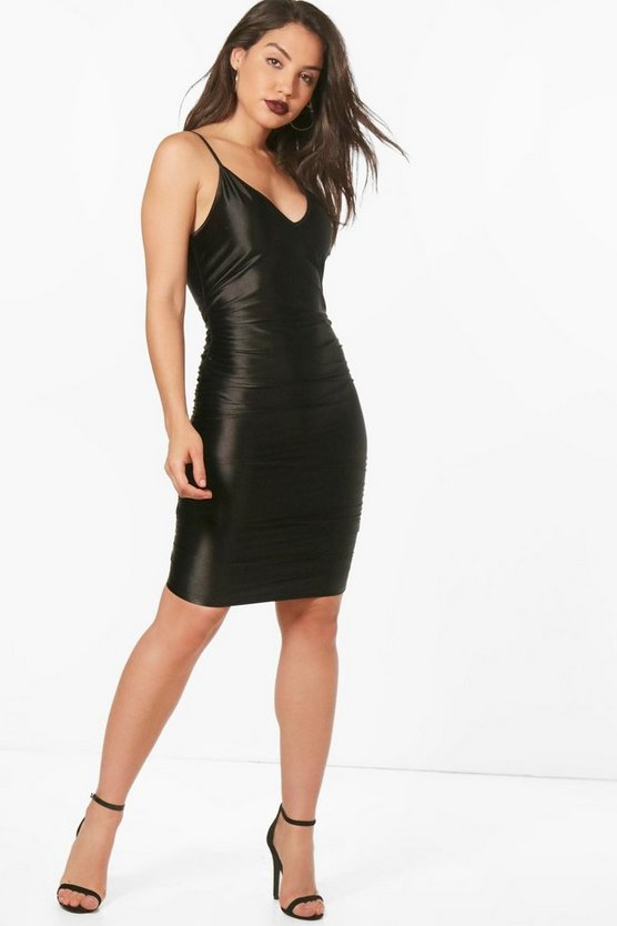 Neve Satin Ruched Bodycon Dress