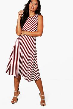 boohoo female vickie stripe frill skirt midi skater dress