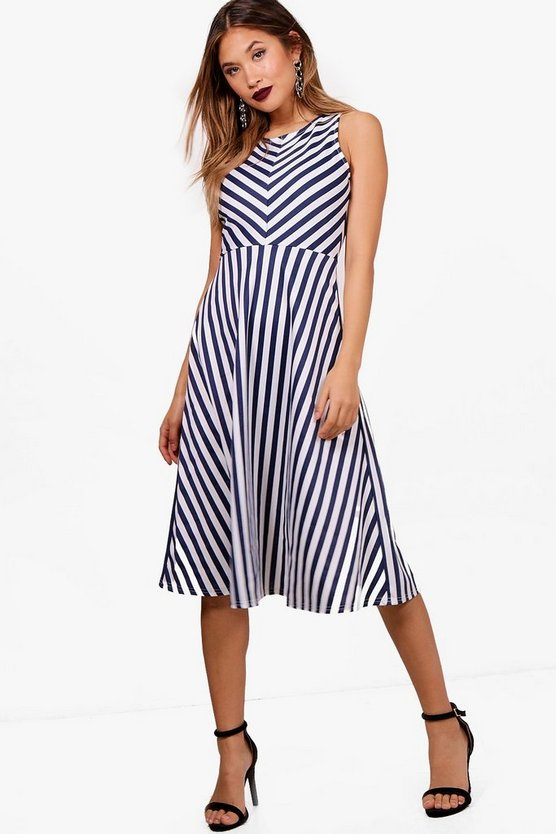 Vickie Stripe Frill Skirt Midi Skater Dress