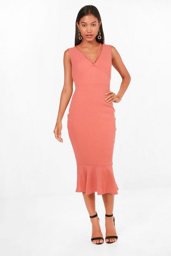 Farah Strappy Frill Hem Midi Dress