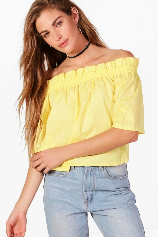 Aimee Woven Big Sleeve Off The Shoulder Top