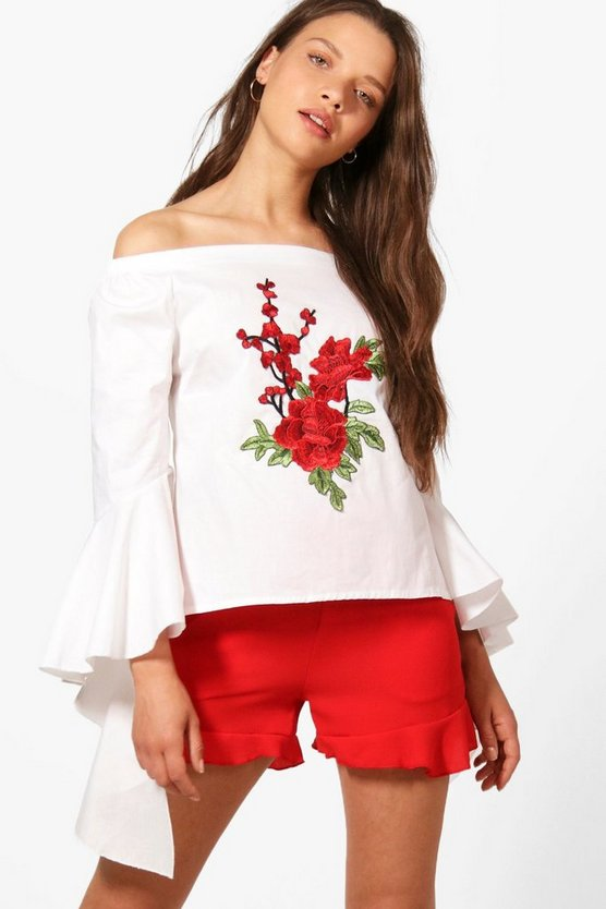 Eva Boutique Embroidered Ruffle Sleeve Off The Shoulder Top
